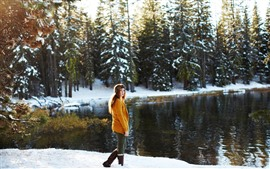 Preview wallpaper Girl look back, sweater, snow, trees, lake, winter