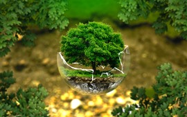 Preview wallpaper Glass ball, one tree, creative design picture