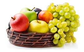 Preview wallpaper Green grapes, apples, basket, white background