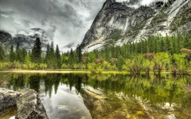 Preview wallpaper Lake, mountain, water reflection, trees, clouds