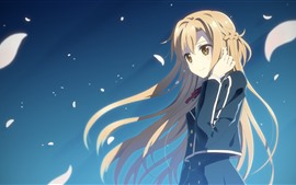 Preview wallpaper Long hair anime girl, blonde, wind