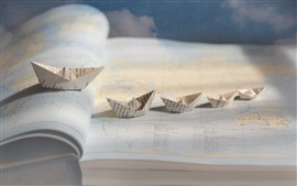 Mapa, barcos de papel