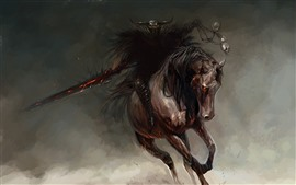 Preview wallpaper Monster, horse, rider, art picture