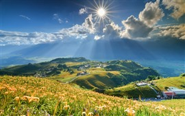 Preview wallpaper Mountain top, mountains, grass, sunshine, countryside