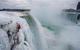 Ниагарский водопад, снег, замороженные, зима, туман
