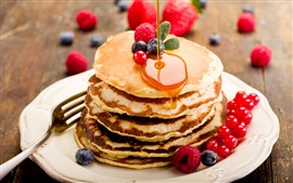 Preview wallpaper Pancakes, honey, red currants, blueberries