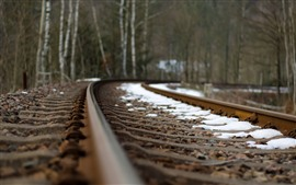 Preview wallpaper Railroad, track, snow, hazy