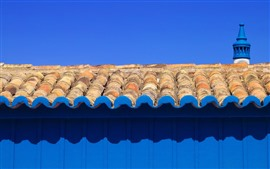Preview wallpaper Roof, blue wall, shadow