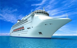 Preview wallpaper Ship, front view, blue sea