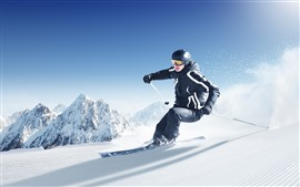 Preview wallpaper Ski, man, sport, snow