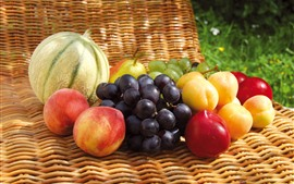 Some fruits, grapes, peach, plum, melon