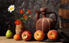 Still life, peach, pear, kettle, flowers