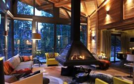 Villa, interior, lareira, móveis, sofá, janela, estrutura de madeira