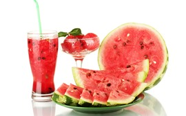Preview wallpaper Watermelon, drinks, glass cup, white background