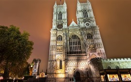 Preview wallpaper Westminster Abbey, buildings, trees, lights, night, city, London