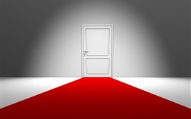 Preview wallpaper White door, red carpet, creative design