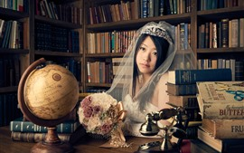 Asian girl, bride, veil, books, flowers