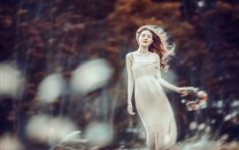Preview wallpaper Asian girl in the wind, skirt, trees