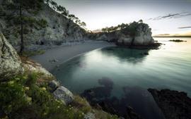 Preview wallpaper Beach, rocks, sea, trees, dusk
