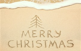 Preview wallpaper Beach, sands, Merry Christmas, foam