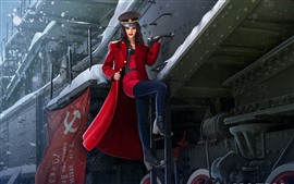 Preview wallpaper Beautiful Russian girl, train, red coat, winter, art picture