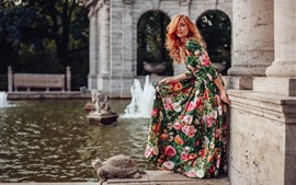 Preview wallpaper Beautiful girl, hairstyle, colorful skirt, pose, fountain