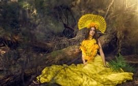 Preview wallpaper Brown hair girl, fashion, yellow flowers skirt, decoration