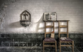 Preview wallpaper Chairs, room, wall, book, dust