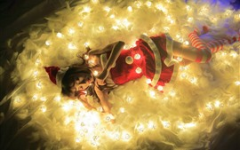 Preview wallpaper Christmas girl, sleeping, lights