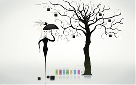 Preview wallpaper Creative design, tree, books, cat, umbrella