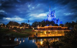 Preview wallpaper Disneyland, castle, night, lights, gazebo, clouds