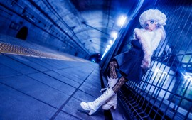 Кукла, девочка, игрушка, забор, тоннель