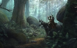 Preview wallpaper Forest, horse, hunter, falcon, art picture