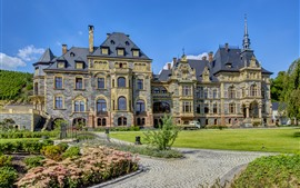 미리보기 배경 화면 독일, 성, 초원, 꽃
