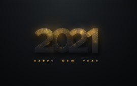Preview wallpaper Happy New Year 2021, black background, golden light