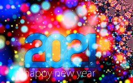 Preview wallpaper Happy New Year 2021, colorful background, light circles, shine, creative