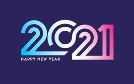 Preview wallpaper Happy New Year 2021, colorful numerics