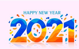 Preview wallpaper Happy New Year 2021, colorful vector