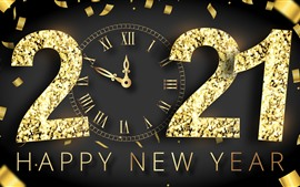 Preview wallpaper Happy New Year 2021, golden style, clock