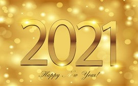 Preview wallpaper Happy New Year 2021, golden style, shine
