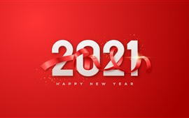 Preview wallpaper Happy New Year 2021, red background, ribbon