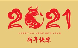 Preview wallpaper Happy New Year 2021, red style, year of ox