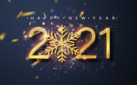 Happy New Year 2021, snowflake, shine, golden