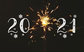Preview wallpaper Happy New Year 2021, sparks, shine