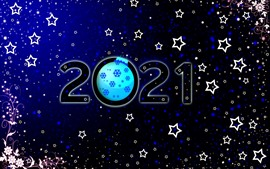 Preview wallpaper Happy New Year 2021, stars, flowers, snowflakes