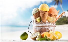 Preview wallpaper Ice cream, fruits, beach, tropical