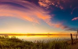 Preview wallpaper Lake, grass, evening, sunset, sky, clouds
