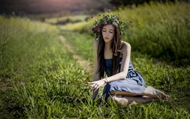 Long hair girl, wreath, skirt, butterfly, grass, summer