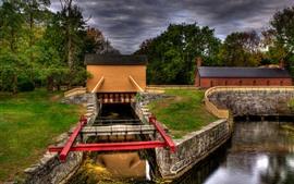 Lowell, Massachusetts, trees, channel, house, USA