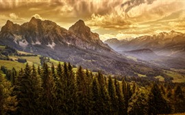 Preview wallpaper Mountains, trees, clouds, dusk, nature landscape